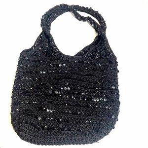 Vintage Y2K Crochet Sequins Hobo Bag